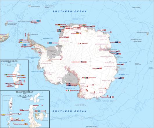 Rozmieszczenie stacji badawczych na Antarktyce