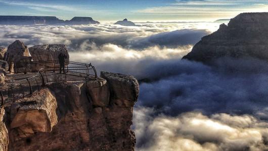 USA - Bardzo rzadkie zjawisko wystąpiło drugi raz w ciągu miesiąca, Wielki Kanion wypełniony parą wodną 2