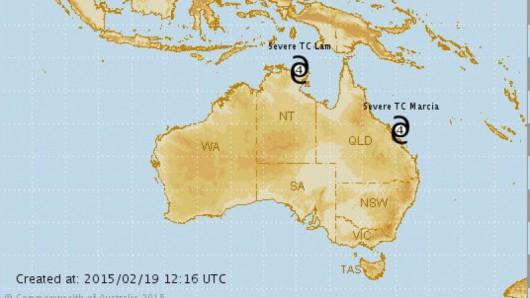 Cyklony nad Australią/Bureau of Meteorology