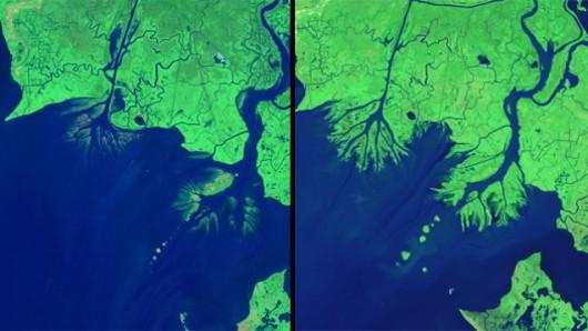 Delta Missisipi w 1986 roku (zdjęcie po lewej) i w 2014 roku (zdjęcie po prawej)