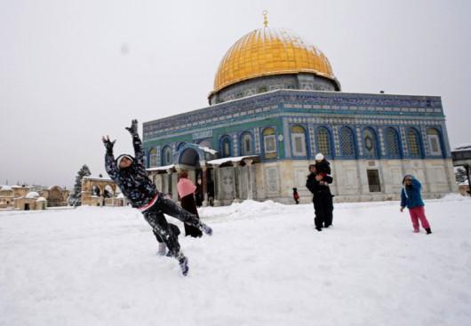 Izrael - Jerozolima pod wyjątkowo grubą warstwą śniegu 1
