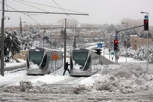 Izrael - Jerozolima pod wyjątkowo grubą warstwą śniegu 10