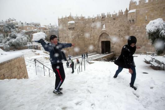 Izrael - Jerozolima pod wyjątkowo grubą warstwą śniegu 2