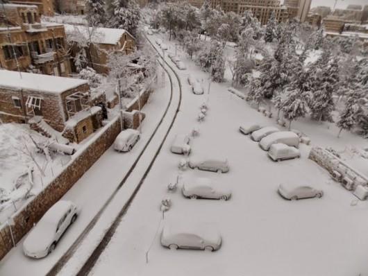 Izrael - Jerozolima pod wyjątkowo grubą warstwą śniegu 20