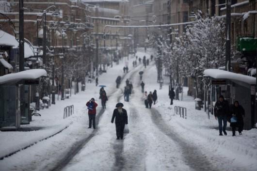 Izrael - Jerozolima pod wyjątkowo grubą warstwą śniegu 3
