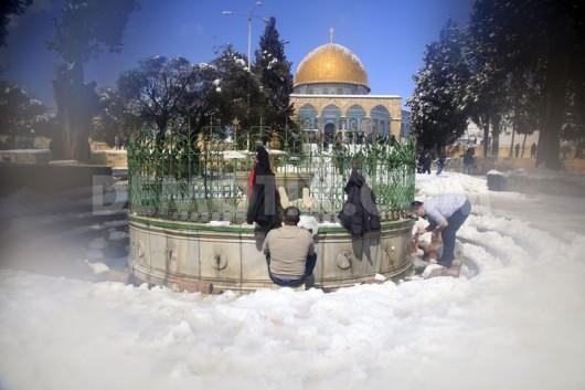 Izrael - Jerozolima pod wyjątkowo grubą warstwą śniegu 5