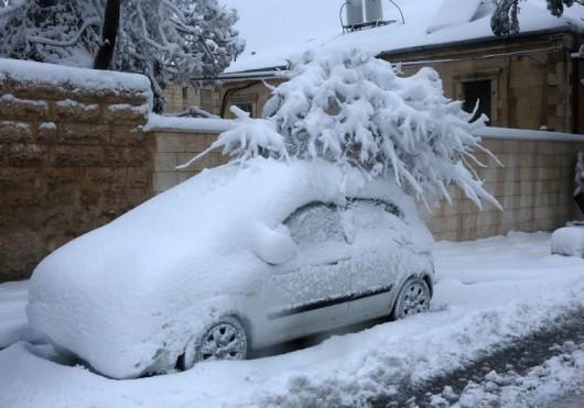 Izrael - Jerozolima pod wyjątkowo grubą warstwą śniegu 7