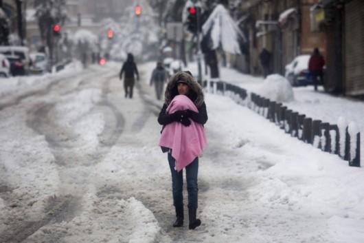 Izrael - Jerozolima pod wyjątkowo grubą warstwą śniegu 9