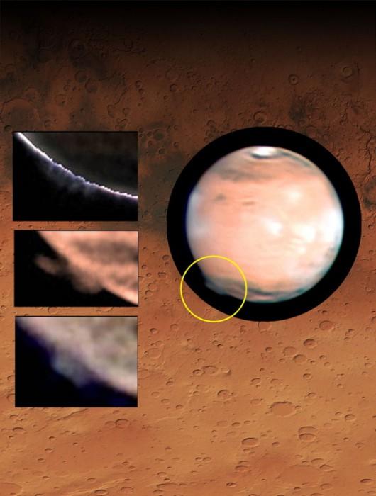 Mars - Tajemnicze obłoki unoszą się na wysokość 250 kilometrów