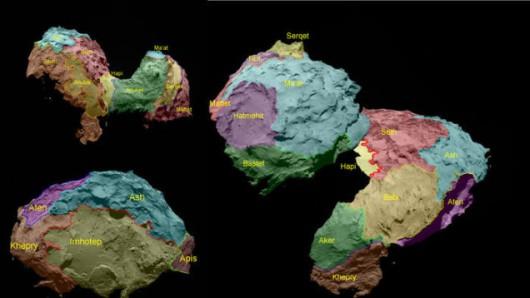 Podział powierzchni komety 67P Czuriumow-Gierasimienko
