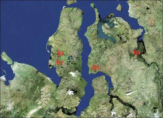 Cztery arktyczne kratery: B1 - słynna dziura Jamał 30 kilometrów od Bovanenkovo, B2 - niedawno wykrytego krateru w 10 km na południe od Bovanenkovo, B3 - krater znajduje się 90 km od miejscowości Antipayuta B4 - krater znajduje się w pobliżu wsi Nosok, na na północ od regionu Krasnojarsk, w pobliżu Półwyspu Tajmyr