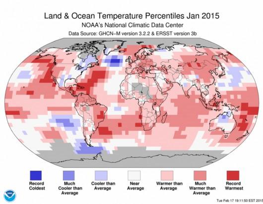 Anomalie temperatury w styczniu 2015 roku