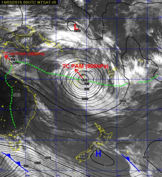 Cyklon Pam nad Vanuatu