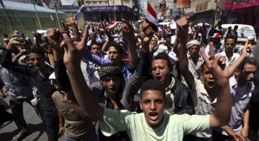 Anti-Houthi protesters demonstrate in Yemen's southwestern city of Taiz