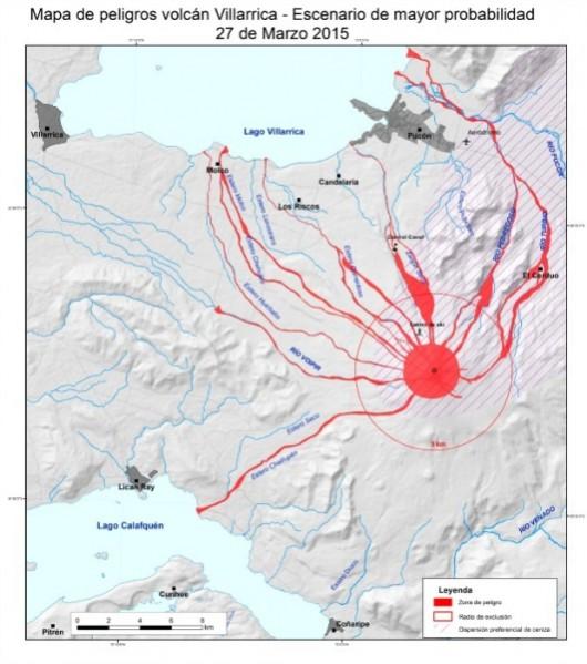Mapa zagrożeń wulkanu Villarrica, scenariusz z 28 marca 2015 r.