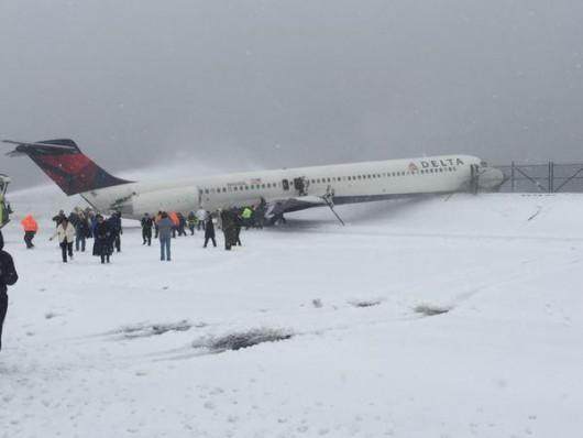 Nowy Jork, USA - Samolot wypadł z pasa podczas burzy śnieżnej