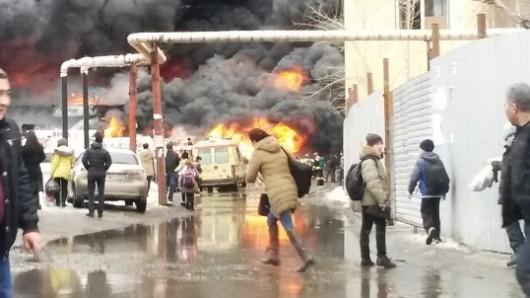 Rosja - Duży pożar supermarketu w Kazaniu 1