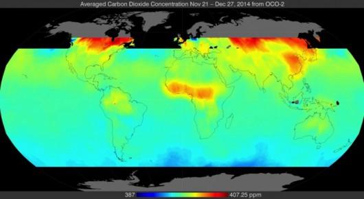 Rozmieszczenie CO2 na Ziemi w okresie listopad-grudzień 2014 r.