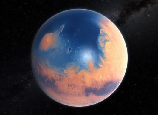 Tak mógł wyglądać ocean na północnej półkuli Marsa. /ESO/M. Kornmesser/N. Risinger (skysurvey.org) /