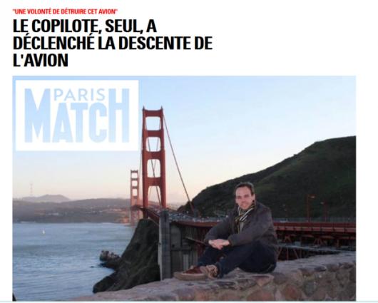 """Zdj. Andreasa Lubitza zamieszczone przez """"Paris Match"""" /Paris Match /"""