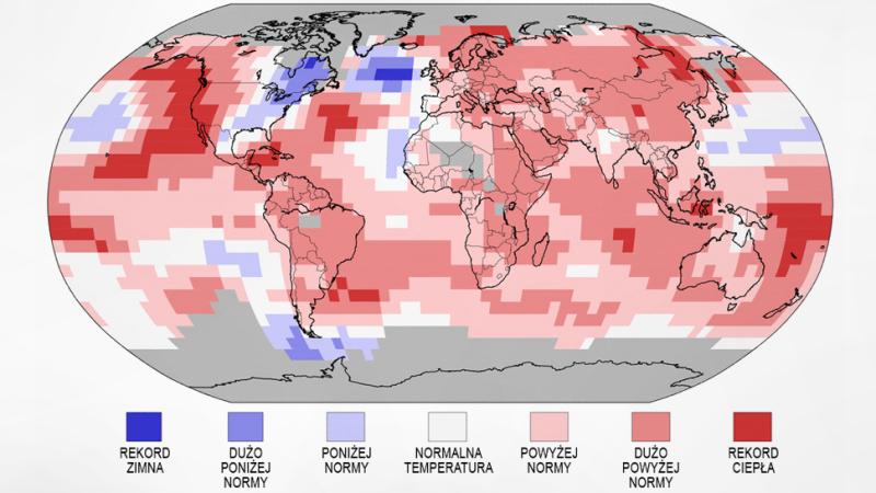 Średnia temperatura na świecie w kwartale styczeń-marzec (NOAA)