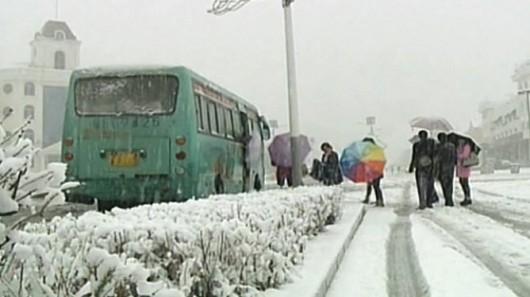 Chiny - W kilka godzin wiosna zamieniła się w zimę 2