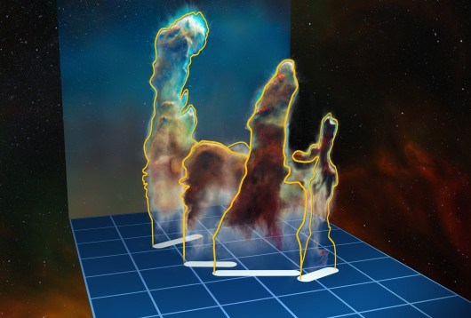 This visualisation of the three-dimensional structure of the Pillars of Creation within the star formation region Messier 16 (also called the Eagle Nebula) is based on new observations of the object using the MUSE instrument on ESO's Very Large Telescope in Chile. The pillars actually consist of several distinct pieces on either side of the star cluster NGC 6611. In this illustration, the relative distance between the pillars along the line of sight is not to scale.