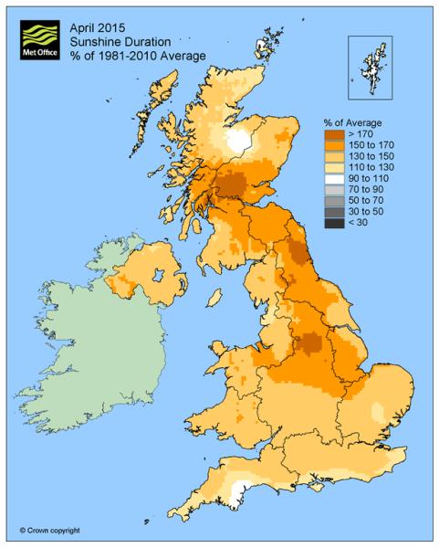 Odchylenie średniego usłonecznienia w Anglii w kwietniu 2015 roku