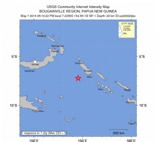 Silne trzęsienie ziemi pomiędzy Papua Nowa Gwinea, a Wyspami Salomona, magnituda 7.1, głębokość 23 km