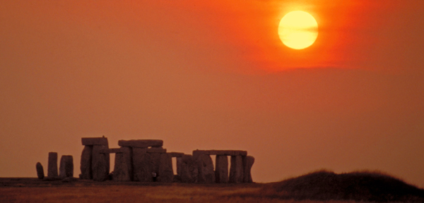 At Sunset, Stonehenge, Wiltshire, England.
