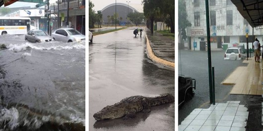 Tampico, Meksyk - Na skutek obfitych opadów deszczu woda w rzekach i jeziorach wystąpiła z brzegów