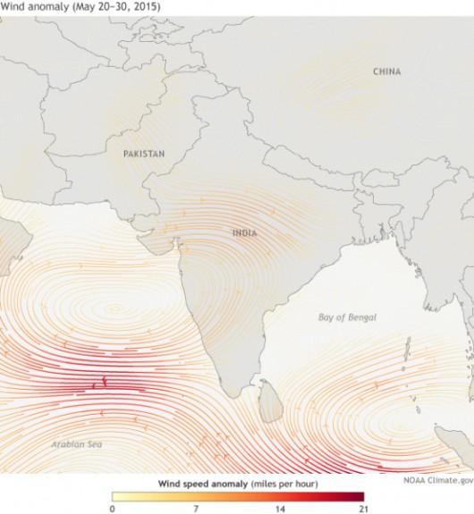 Cyrkulacja powietrza w drugiej połowie maja w Indiach