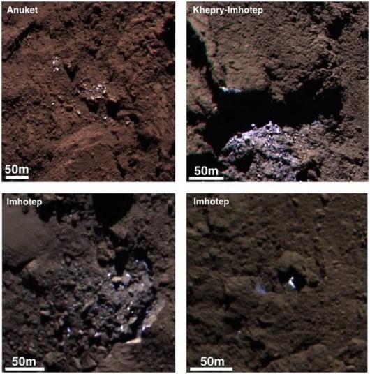 Cztery rejony jądra komety 67P ze śladami lodu na powierzchni /ESA/Rosetta/MPS for OSIRIS Team MPS/UPD/LAM/IAA/SSO/INTA/UPM/DASP/IDA /