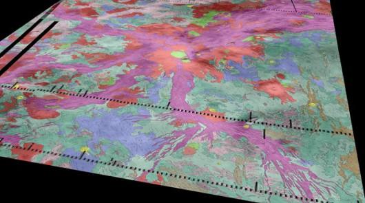 Mapa rejonu Ozza Mons na powierzchni Wenus /Ivanov/Head/Dickson/Brown University /