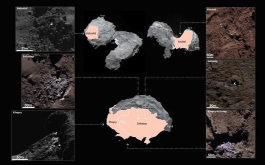 Oto, w jakich rejonach znaleziono ślady lodu /ESA/Rosetta/MPS for OSIRIS Team MPS/UPD/LAM/IAA/SSO/INTA/UPM/DASP/IDA /