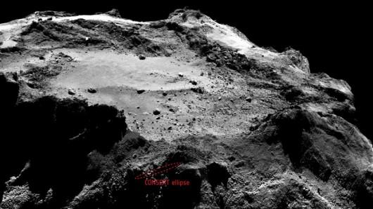 rejon poszukiwań /Ellipse: ESA/Rosetta/Philae/CONSERT; Image: ESA/Rosetta/MPS for OSIRIS Team MPS/UPD/LAM/IAA/SSO/INTA/UPM/DASP/IDA /