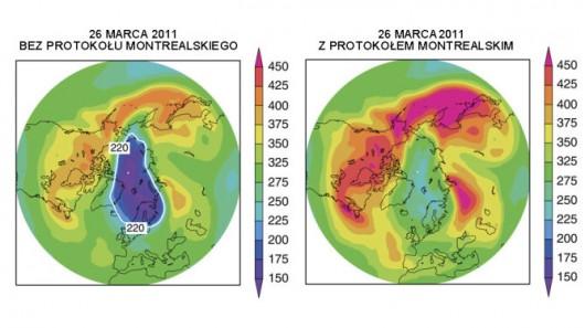 Skala pokazuje pomiar warstwy ozonu w atmosferze w jednostkach Dobsona (DU). 1 DU odpowiada warstwie ozonu o grubości 10 mikrometrów