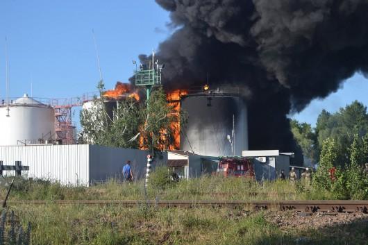 Wasylków, Ukraina - Eksplozja i ogromny pożar zbiorników z paliwem w bazie naftowej 6