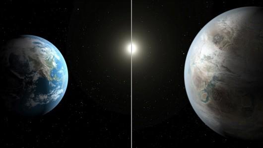 Kepler 452b i Ziemia - wizja artystyczna