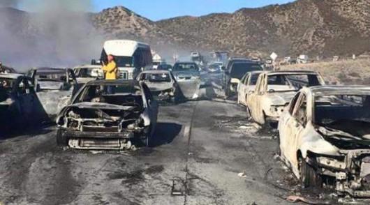 Los Angeles, USA - Pożar lasów dotarł do autostrady międzystanowej -5