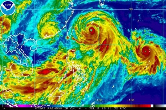 Obraz tajfunów w podczerwieni