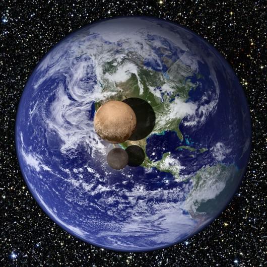 Porównanie rozmiarów Plutona i Charona z Ziemią /NASA /