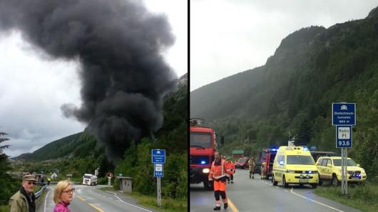 Sogn og Fjordane, Norwegia - Cysterna przewożąca 16.5 tysiąca litrów paliwa uderzyła w ścianę i wybuchła -3