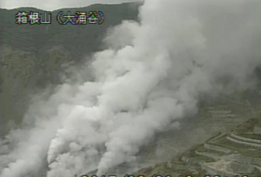 A video grab from the Japan Meteorological Agency's live camera image shows smoke rising from Owakudani vally at Mount Hakone where a small volcanic erupted, in Hakone town