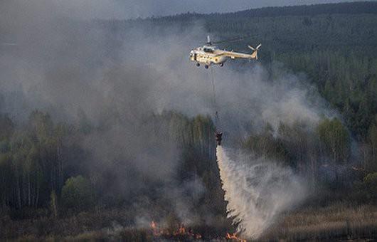 Ukraina - Pożar w zamkniętej strefie wokół elektrowni atomowej w Czarnobylu 2