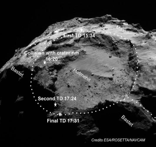 Punkty zetknięcia z powierzchnią 67P i lądowania Philae /ESA/ROSETTA/NAVCAM/SONC/DLR /