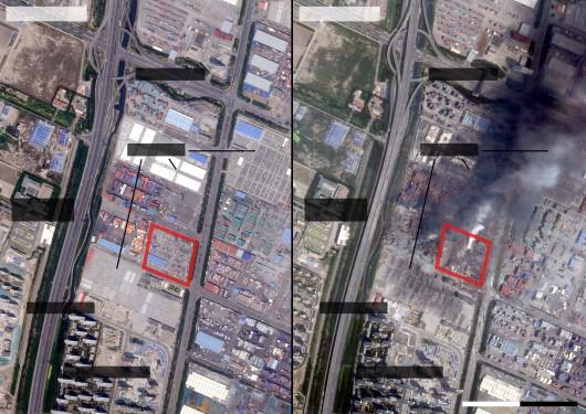 Zdjęcie satelitarne przed i po wybuchu.
