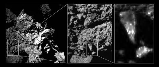 Zbliżenie na jasne ziarna na powierzchni jądra komety 67P /ESA/Rosetta/Philae/CIVA /