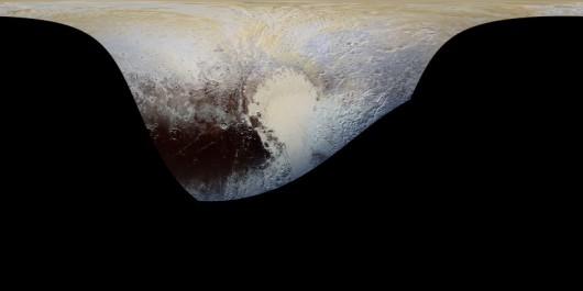 Cylindryczna projekcja mapy Plutona, wykonanej kamerą MVIC //NASA/JHUAPL/SWR /Materiały prasowe