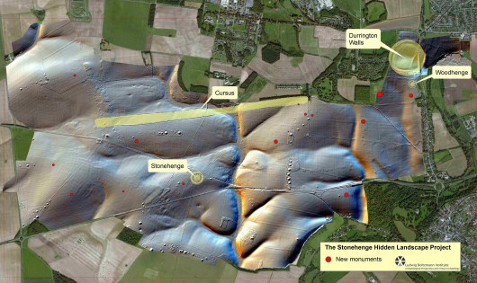 Lokalizacja nowo odkrytych zabytków wokół Stonehenge. Foto Geert Verhoeven